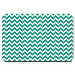 Emerald Green & White Zigzag Pattern Large Doormat by Zandiepants