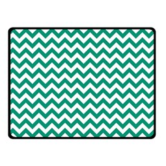 Emerald Green & White Zigzag Pattern Fleece Blanket (small) by Zandiepants
