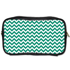 Emerald Green & White Zigzag Pattern Toiletries Bag (two Sides) by Zandiepants