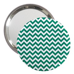 Emerald Green & White Zigzag Pattern 3  Handbag Mirror by Zandiepants