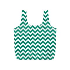 Emerald Green & White Zigzag Pattern Full Print Recycle Bag (s) by Zandiepants