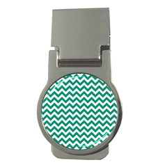 Emerald Green & White Zigzag Pattern Money Clip (round) by Zandiepants