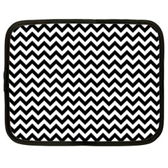 Black & White Zigzag Pattern Netbook Case (xxl) by Zandiepants