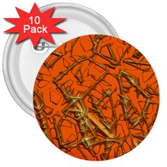 Thorny Abstract, Orange 3  Buttons (10 Pack)  by MoreColorsinLife