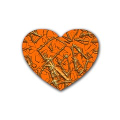 Thorny Abstract, Orange Heart Coaster (4 Pack)  by MoreColorsinLife