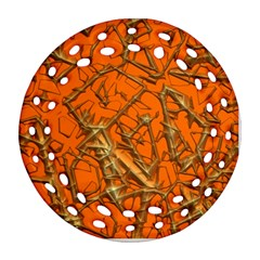 Thorny Abstract, Orange Round Filigree Ornament (2side) by MoreColorsinLife
