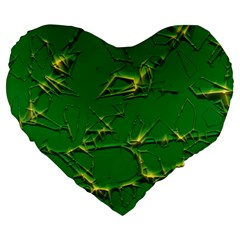 Thorny Abstract,green Large 19  Premium Heart Shape Cushions by MoreColorsinLife