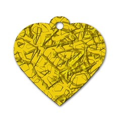 Thorny Abstract,golden Dog Tag Heart (two Sides) by MoreColorsinLife