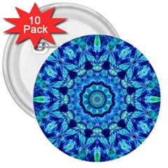 Blue Sea Jewel Mandala 3  Button (10 Pack) by Zandiepants