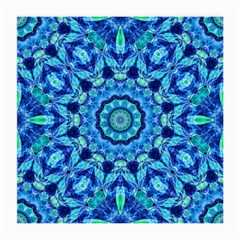 Blue Sea Jewel Mandala Medium Glasses Cloth by Zandiepants