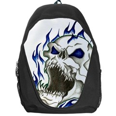Blue Flame Skull Backpack Bag by Limitless