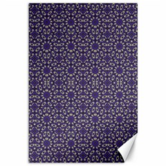 Stylized Floral Check Canvas 12  X 18   by dflcprints