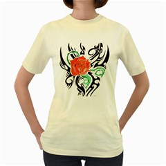 Tribal Rose Women s Yellow T Shirt by Limitless