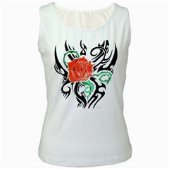 Tribal Rose Women s White Tank Top by Limitless
