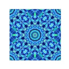 Blue Sea Jewel Mandala Small Satin Scarf (square) by Zandiepants