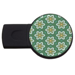 Yellow Flowers Pattern                                    			usb Flash Drive Round (2 Gb) by LalyLauraFLM