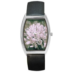 White Flower Barrel Style Metal Watch