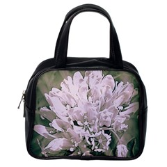White Flower Classic Handbags (one Side) by uniquedesignsbycassie