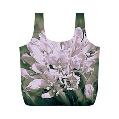 White Flower Full Print Recycle Bags (m)  by uniquedesignsbycassie