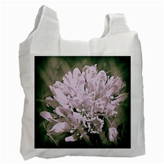 White Flower Recycle Bag (two Side)  by uniquedesignsbycassie