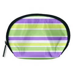 Yellow Purple Green Stripes Accessory Pouches (medium)  by BrightVibesDesign