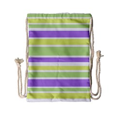 Yellow Purple Green Stripes Drawstring Bag (small) by BrightVibesDesign
