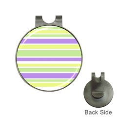Yellow Purple Green Stripes Hat Clips With Golf Markers by BrightVibesDesign