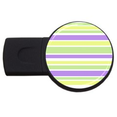 Yellow Purple Green Stripes Usb Flash Drive Round (4 Gb)  by BrightVibesDesign