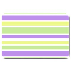 Yellow Purple Green Stripes Large Doormat  by BrightVibesDesign