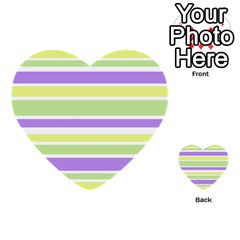 Yellow Purple Green Stripes Multi-purpose Cards (heart)  by BrightVibesDesign