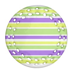 Yellow Purple Green Stripes Round Filigree Ornament (2side) by BrightVibesDesign