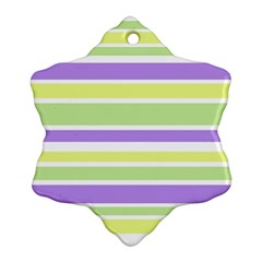 Yellow Purple Green Stripes Snowflake Ornament (2 Side) by BrightVibesDesign