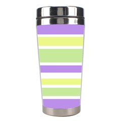 Yellow Purple Green Stripes Stainless Steel Travel Tumblers by BrightVibesDesign
