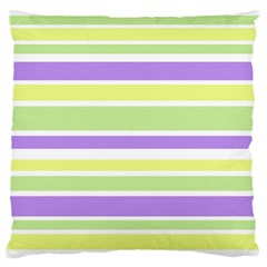 Yellow Purple Green Stripes Large Flano Cushion Case (one Side) by BrightVibesDesign