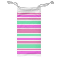Pink Green Stripes Jewelry Bags by BrightVibesDesign