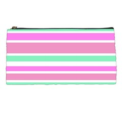 Pink Green Stripes Pencil Cases by BrightVibesDesign