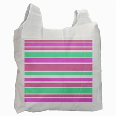 Pink Green Stripes Recycle Bag (one Side) by BrightVibesDesign