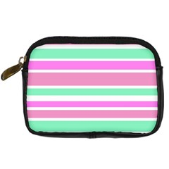 Pink Green Stripes Digital Camera Cases by BrightVibesDesign