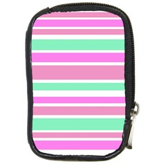 Pink Green Stripes Compact Camera Cases by BrightVibesDesign