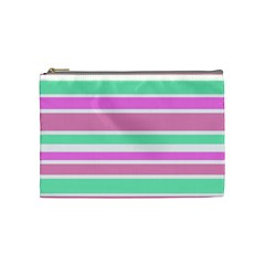 Pink Green Stripes Cosmetic Bag (medium)  by BrightVibesDesign