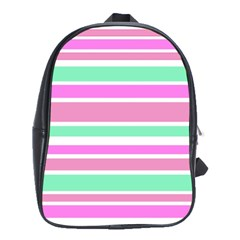 Pink Green Stripes School Bags(large)  by BrightVibesDesign