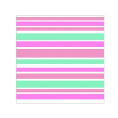 Pink Green Stripes Small Satin Scarf (square) by BrightVibesDesign