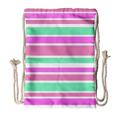 Pink Green Stripes Drawstring Bag (large) by BrightVibesDesign