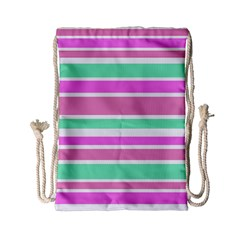 Pink Green Stripes Drawstring Bag (small) by BrightVibesDesign