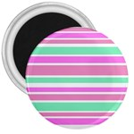 Pink Green Stripes 3  Magnets Front
