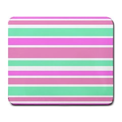 Pink Green Stripes Large Mousepads by BrightVibesDesign