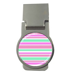 Pink Green Stripes Money Clips (round)  by BrightVibesDesign