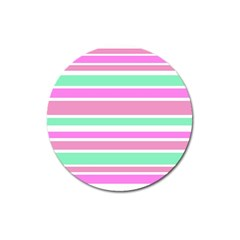 Pink Green Stripes Magnet 3  (round) by BrightVibesDesign