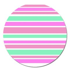 Pink Green Stripes Magnet 5  (round) by BrightVibesDesign