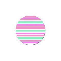 Pink Green Stripes Golf Ball Marker by BrightVibesDesign